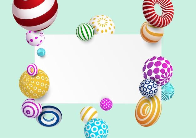 Abstrakter hintergrund mit buntem dekorativem ball und ring. vektor eps10.