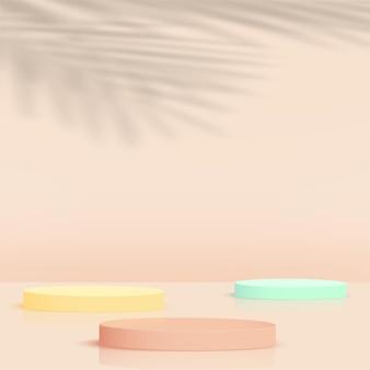 Abstrakter hintergrund mit bunten geometrischen 3d-podien. vektor-illustration