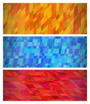 Abstrakter hintergrund mit bunten rechtecken. satz von drei schönen futuristischen dynamischen geometrischen fahnen-designmustern. vektor-illustration