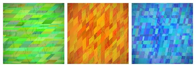 Abstrakter hintergrund mit bunten rechtecken. satz von drei schönen futuristischen dynamischen geometrischen kartendesignmustern. vektor-illustration