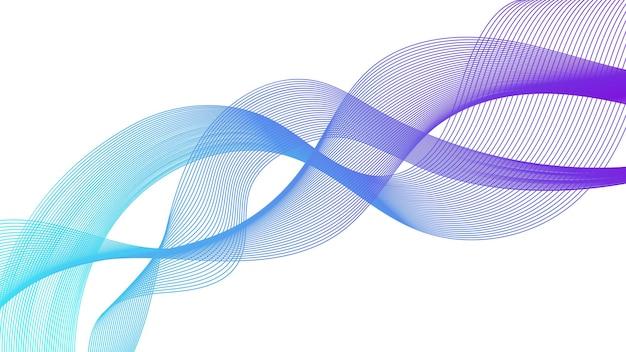 Abstrakter hintergrund mit bunten wellensteigungslinien auf weißem hintergrund. moderner technologiehintergrund, wellendesign. vektor-illustration