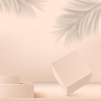 Abstrakter hintergrund mit cremefarbenen geometrischen 3d-podien. illustration.