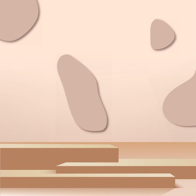 Abstrakter hintergrund mit cremefarbenen geometrischen 3d-podien. vektor-illustration.