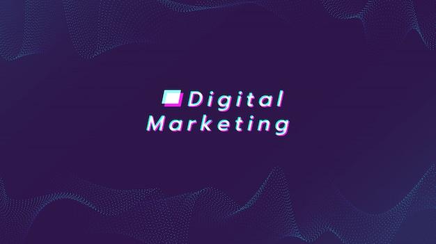 Abstrakter hintergrund mit cyan-blauer partikelzeile. illustration über digitales marketing.