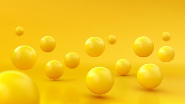 Abstrakter hintergrund mit dynamischen 3d-kugeln. gelbe blasen. von glänzenden kugeln. modernes trendiges bannerdesign