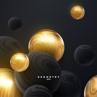Abstrakter hintergrund mit dynamischen schwarzen und goldenen kugeln 3d