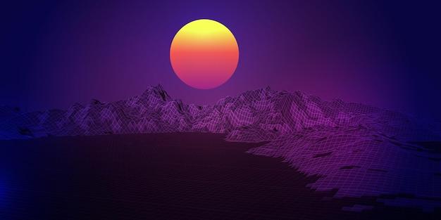 Abstrakter hintergrund mit einem retro-wireframe-landschaftsdesign