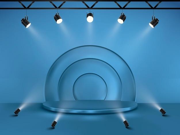 Abstrakter hintergrund mit einem sockel. 3d-vektor-bühne mit scheinwerfern. podium für die show.