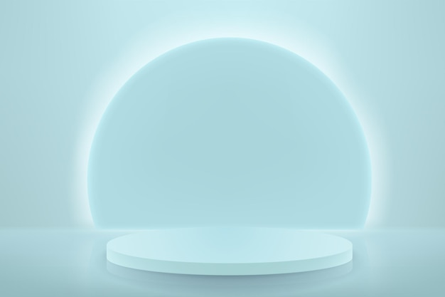 Abstrakter hintergrund mit einem sockel im minimalistischen stil. leeres podium zur produktdemonstration mit neonbeleuchtung.