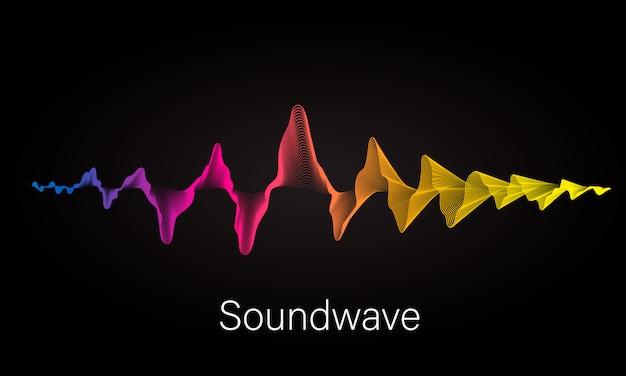 Abstrakter hintergrund mit farbigen dynamischen wellen, linie und partikeln