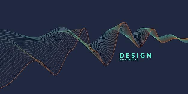 Abstrakter hintergrund mit farbigen dynamischen wellen, linien und partikeln. abbildung geeignet für