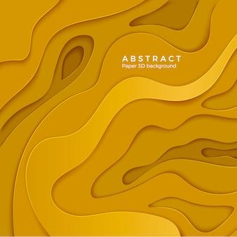 Abstrakter hintergrund mit gelben papierschnittformen. schichtfarbenes wellenpapier. für geschäftsplakat und präsentation. illustration