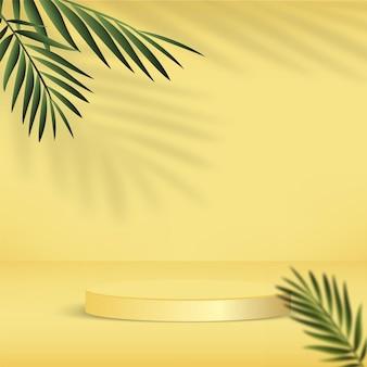 Abstrakter hintergrund mit gelber farbe, geometrischem 3d-podium und palme