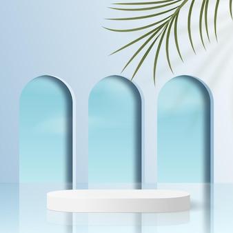 Abstrakter hintergrund mit geometrischem 3d-podium der blauen farbe.