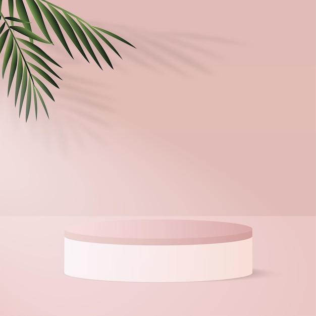 Abstrakter hintergrund mit geometrischem 3d-podium der rosa farbe