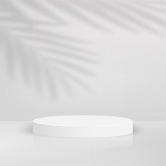 Abstrakter hintergrund mit geometrischem 3d-podium der weißen farbe