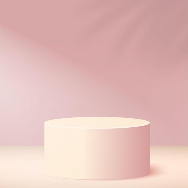 Abstrakter hintergrund mit geometrischem podium der rosa farbe
