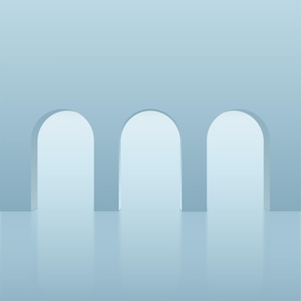 Abstrakter hintergrund mit geometrischen 3d-podien der blauen farbe. vektor-illustration.