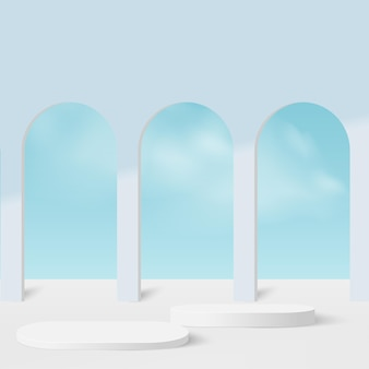 Abstrakter hintergrund mit geometrischen 3d-podien der farbe des blauen himmels.
