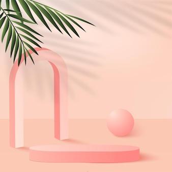 Abstrakter hintergrund mit geometrischen 3d-podien der rosa farbe. vektor-illustration.