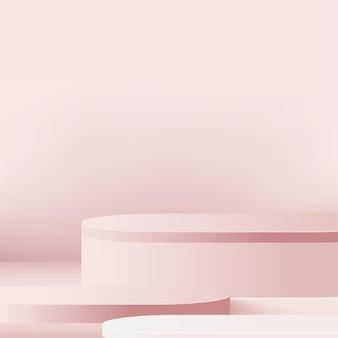 Abstrakter hintergrund mit geometrischen 3d-podien der rosa farbe. Premium Vektoren