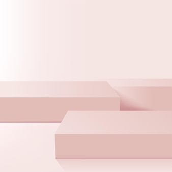 Abstrakter hintergrund mit geometrischen 3d-podien der rosa farbe.