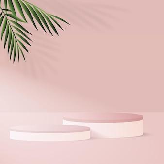Abstrakter hintergrund mit geometrischen 3d-podien der rosa farbe