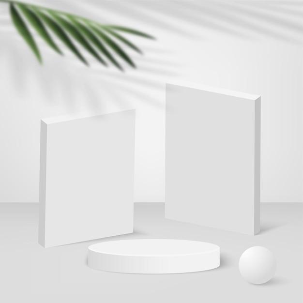 Abstrakter hintergrund mit geometrischen 3d-podien der weißen farbe. vektor-illustration.