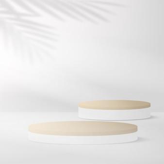 Abstrakter hintergrund mit geometrischen 3d-podien der weißen farbe