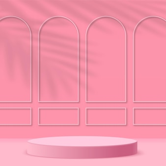 Abstrakter hintergrund mit geometrischen 3d-podien in rosa farbe