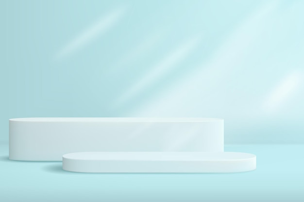Abstrakter hintergrund mit geometrischen formen in pastellblau. eine minimalistische bühne mit einer reihe von podesten, um produkte in der werbung zu präsentieren.