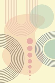 Abstrakter hintergrund mit geometrischen formen und regenbogenlinien im boho-stil