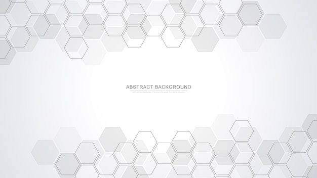 Abstrakter hintergrund mit geometrischen formen und sechseck. medizin, technologie oder wissenschaftliches design.