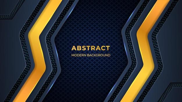 Abstrakter hintergrund mit geometrischen gold- und dunklen farbformen, schaltkreisen und lichtern.