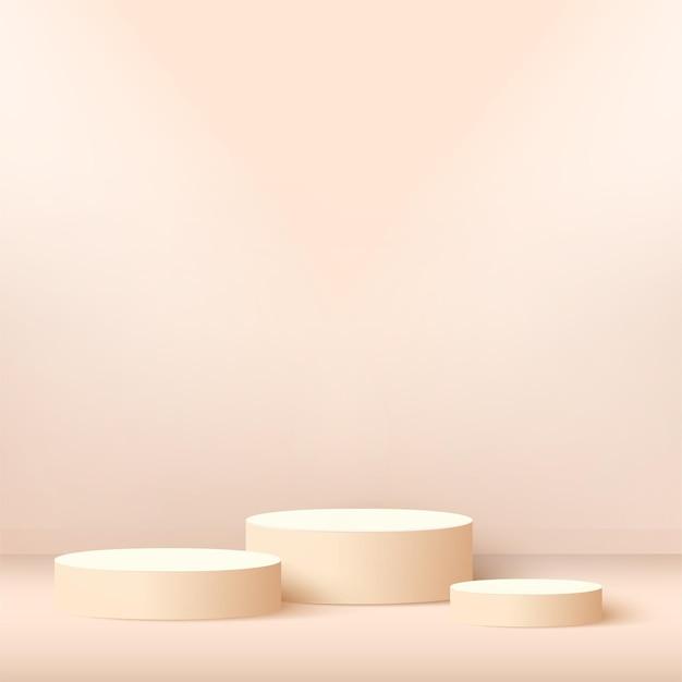 Abstrakter hintergrund mit geometrischen podien der rosa farbe