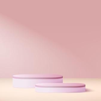 Abstrakter hintergrund mit geometrischen podien der rosa farbe.
