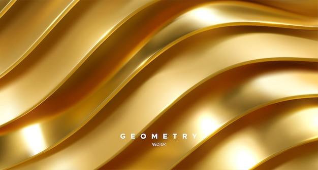 Abstrakter hintergrund mit gewellten goldenen bändern