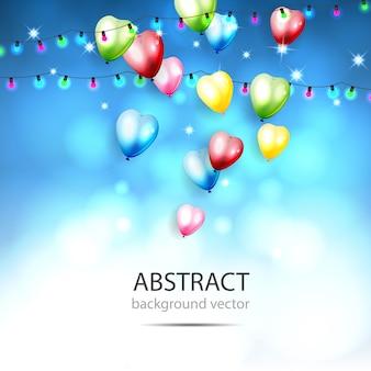 Abstrakter hintergrund mit glänzenden bunten ballonen. mit bokeh elements. vektor-illustration