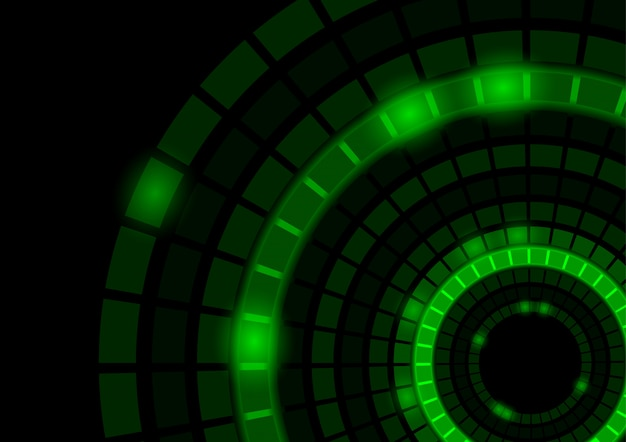 Abstrakter hintergrund mit glühenden grünen segmentierten kreisen