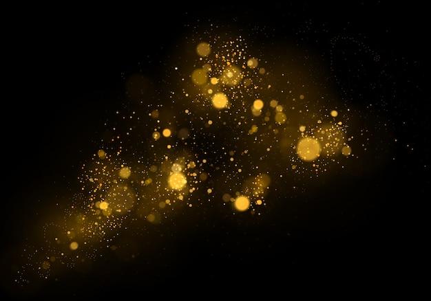 Abstrakter hintergrund mit gold-bokeh-effekt. staubpartikel.