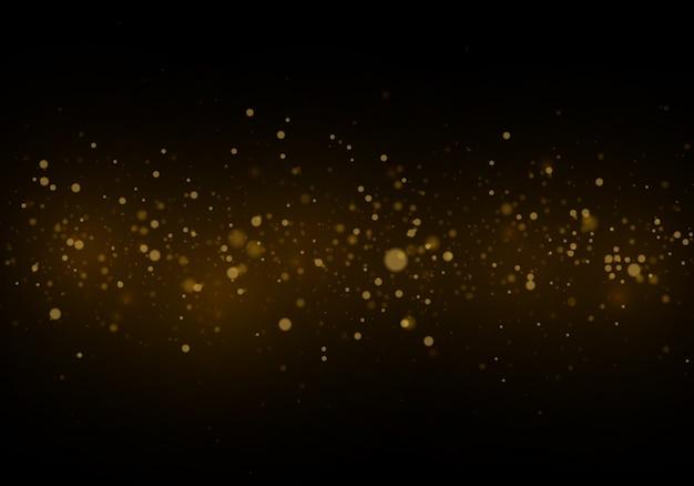 Abstrakter hintergrund mit gold-bokeh-effekt, staubpartikel.