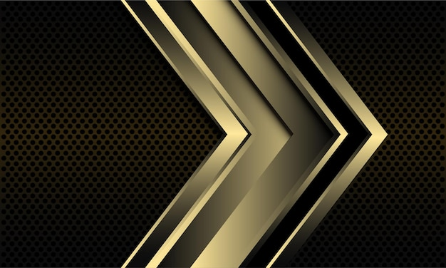 Abstrakter hintergrund mit goldenem pfeil auf dunklem metallischem kreisnetz