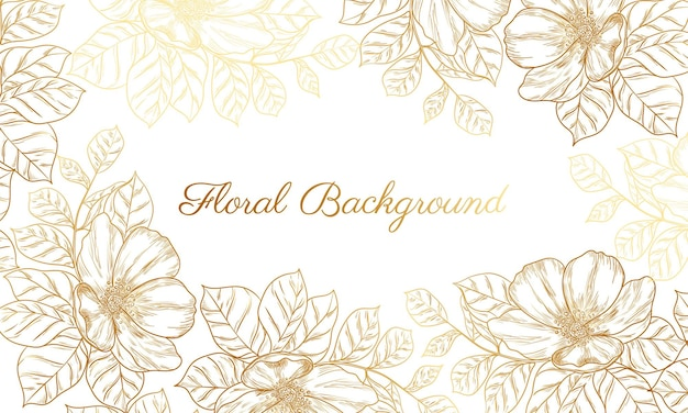 Abstrakter hintergrund mit hand gezeichneter goldener blume