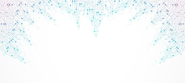 Abstrakter hintergrund mit hightech-technologiebeschaffenheits-leiterplattenbeschaffenheit. abstrakte leiterplatten-banner-tapete. vektorillustration des elektronischen motherboards