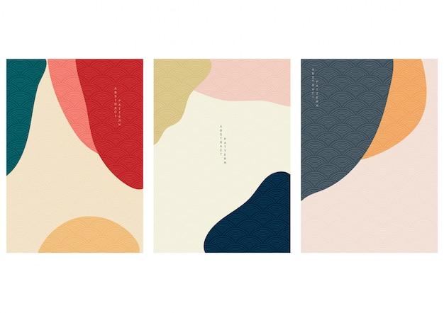 Abstrakter hintergrund mit japanischem stil. kurvendesign mit geometrischen elementen.