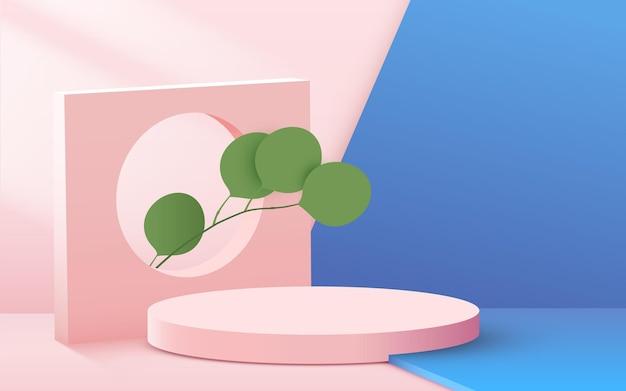 Abstrakter hintergrund mit kreisförmigem podium mit blättern auf rosa