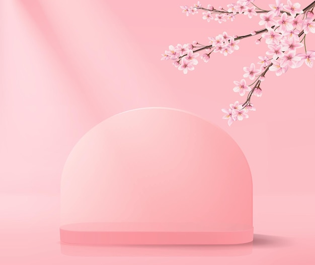 Abstrakter hintergrund mit leerem podium in rosa im minimalistischen stil