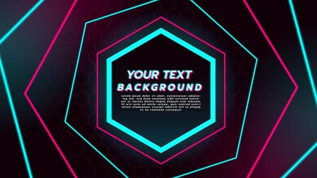 Abstrakter hintergrund mit neonlicht in den hexagonlinien.