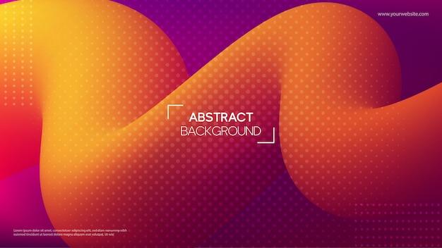 Abstrakter hintergrund mit orange flüssigen formen 3d