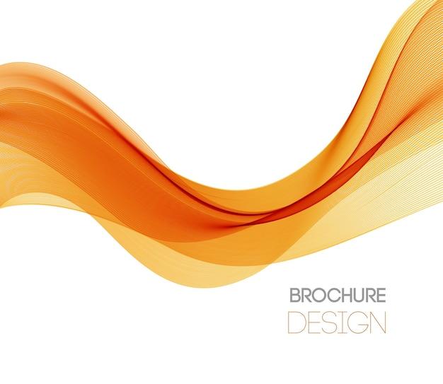 Abstrakter hintergrund mit orange glatter farbwelle. farbige wellenlinien